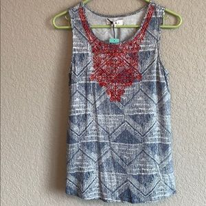 Blue/white tank top with red embroidery